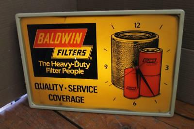 VINTAGE Baldwin Filters Lighted Clock Sign Gas Oil THE HEAVY DUTY PEOPLE