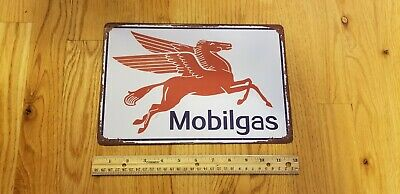 Vintage Mobil Gas Station Sign Mobiloil Mobil Oil Tin Sign Metal Oil Sign Garage