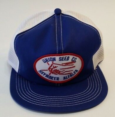 Vintage Union Seed Co Haymaker Blue Mesh Patch Snapback Trucker Hat K-brand USA