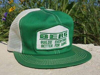 Vintage BERG Mesh Snapback Trucker Hat Patch K PRODUCTS Made In USA