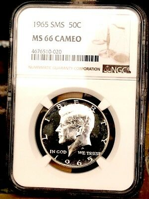 1965 Silver Kennedy NGC SMS 66 Cameo * Price Guide $235 RARE! *