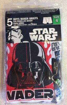 Pack of 5 Boys Size 4 Disney Star Wars Boxer Briefs By Handcraft NWT