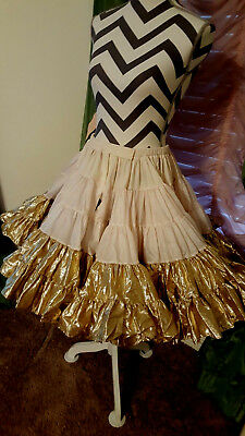 "Petticoat,Gold Lame',20"",80 Yds. Square dance or costume, Million Dollar by Rhyt"