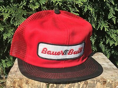 Vintage BAUER BUILT Mesh Snapback Trucker Hat Patch K PRODUCTS Made In USA