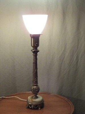 Antique Rembrandt Ornate Brass and Onyx Table Lamp # 2042