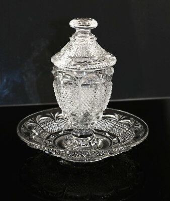 French lacy glass mustard jar with attached plate, ca 1840, Corning Museum