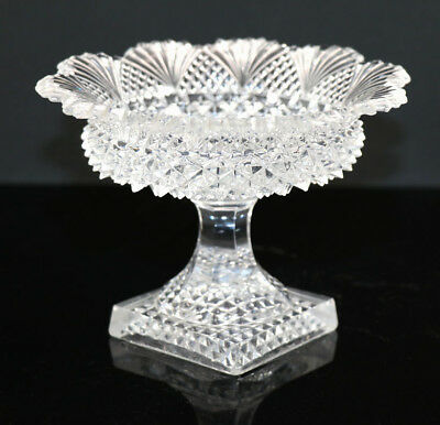 French Lacy Glass compote with fan rim, square foot, ca 1840, Corning Museum