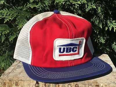 Vintage UBC Mesh Snapback Trucker Hat Patch K BRAND Made In USA