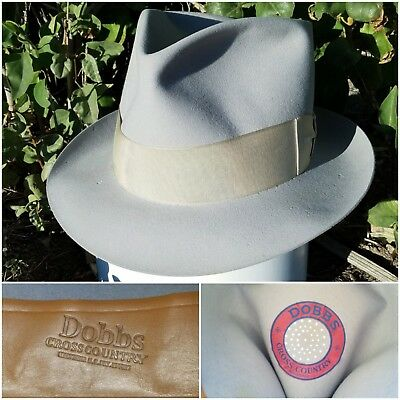 1930s Dobbs Cross country pale blue felt vintage fedora hat