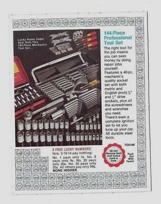 144-PIECE PROFESSIONAL TOOL SET COULD HAVE BEEN WON WITH THIS 1970's PUNCH CARD