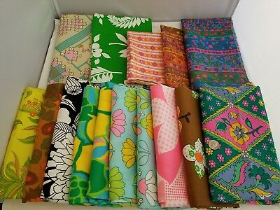 Vintage BIG LOT Groovy Mod Floral Print Fabric Most Cotton 15+ YARDS