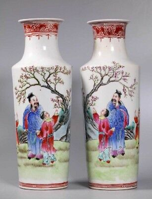 Vintage antique Mirror Pair Chinese Famille Rose Porcelain Vases Republic Period