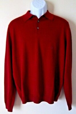 NWT Brooks Brothers Mens Large Red Merino Wool Long Sleeve Button Sweater New