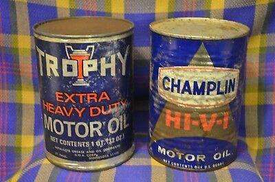 Pair of Vtg Motor Oil Quart Cans-Metal CHAMPLIN HI-V-I & Cardboard TROPHY(StPaul
