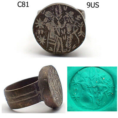 Rare Old Greek Queen & King Intaglio Bronze Ring Size 9 US #C81