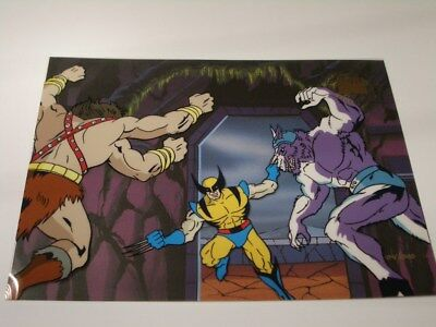 X-Men The Animated Series Wolverine w/ 2 foe Animation Cel (1995) Marvel Sericel