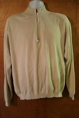 Mens Size XL Tommy Bahama 1/2 Zip Pullover Sweater Silk Blend Cream White