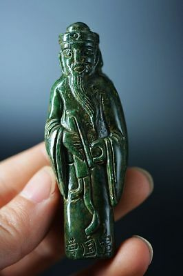 Excellent old jade carved Ancient people 曹国舅 Statue/Pendant   F71