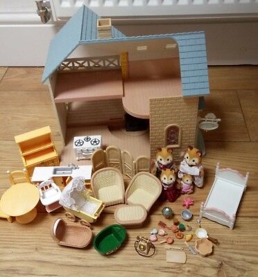 Bundle Lot of Sylvanian Families Riverside Lodge Fox Figures + Baby + Furniture