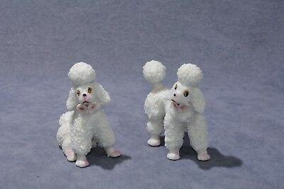 Vintage 1950's Two Porcelain White Poodles Dog Figurines Standing/Sitting-Japan!