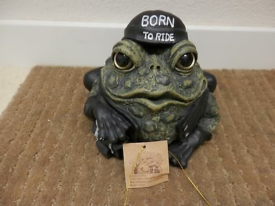 Toad Hollow Biker Dude Frog Motorcycle Figurine Born To Ride
