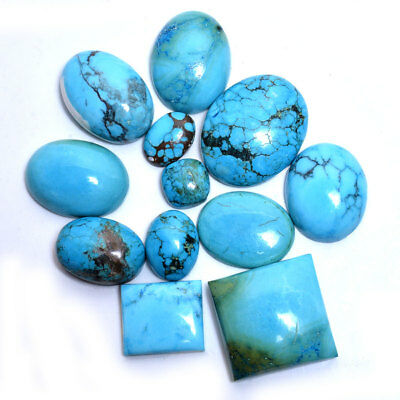 352 Cts/12 Pcs Natural Designer Arizona Turquoise Cabochon Gemstones 12mm-30mm