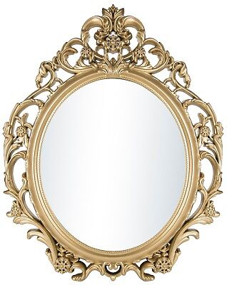 HOME DECOR WALL Mirror Vintage Antique Baroque Hanging Gold Oval ...