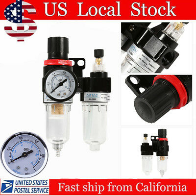 "1/4"" Oil Water Lubricator Trap Air Compressor Filter Regulator Gauge 140psi OY"