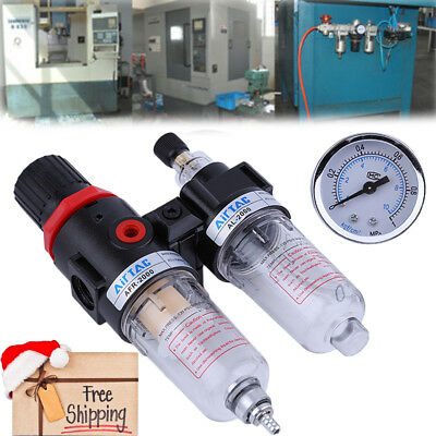 Air Compressor Filter Moisture Water Oil Separator Trap Tools Regulator Gauge OY