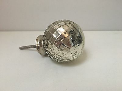 Silver Mercury Glass Round Drawer/cupboard Handle Vintage Style Shabby Chic -BN