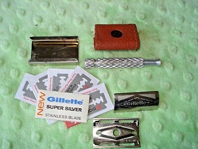 Gillette Razor DE , vintage Safety Razor-sheath-chrome blade holder/5 blades+1