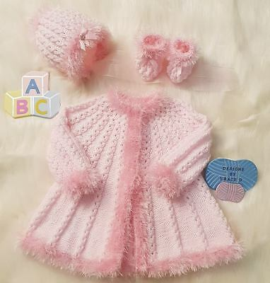 Baby girl  designer knitting pattern  0-6mths 'Holly' *free postage*