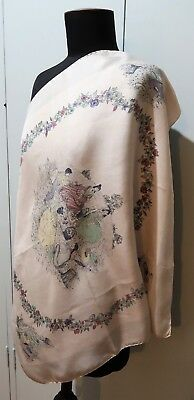 Vintage 1950s Or Earlier 63cm Square Pale Pink Silk Scarf