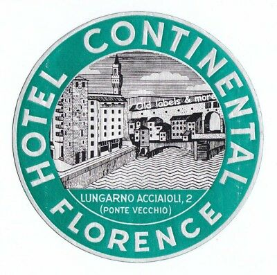 Hotel Continental FLORENCE luggage label Kofferaufkleber x3023