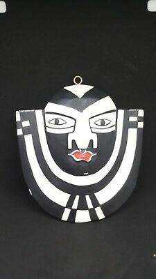 Hand Carved and Painted Wood African Wall Hanging Mask