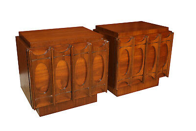 Pair of Broyhill Brasilia Style Mid Century Nightstands Side Tables