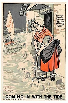 Postcard c1910 Coming in with the Tide, Womens Suffrage Suffragette Movement 60G