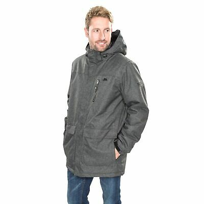 Trespass Alby Mens Waterproof Casual Jacket Hooded Longer Length Grey Raincoat