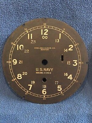"""2 Chelsea Clock Dials 6"""" ** NAVY Serial No. 20343-E** and US. GOVERMENT"""