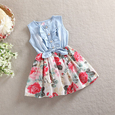 Baby Flower Dress Newborn Girl Summer Clothes Kids New Cotton Sleeveless Outfits