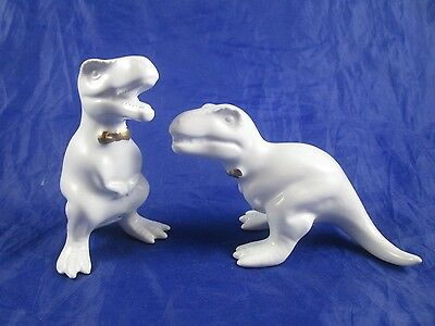 T-Rex Dinosaur Salt & Pepper Shaker Set White Stoneware Porcelain Gold Bow Ties