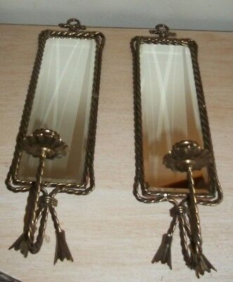 Hollywood Regency Pair Vintage Beveled Mirror Brass Wall Sconce Candle Holders
