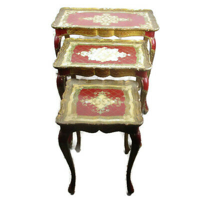 Set of 3 Italian Florentine Hollywood Regency Wood Stacking Red Nesting Tables