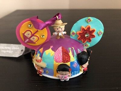 Disney Parks  it's a small world  Mickey Ear Hat Christmas Holiday Ornament New