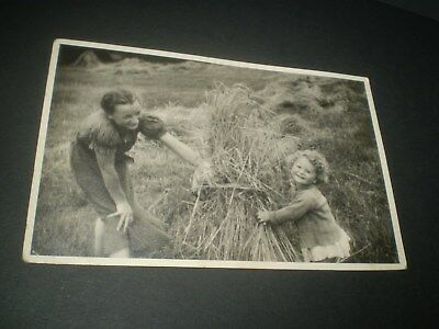 social history 1940's girls playing in the harvest corn photograph 5'inch