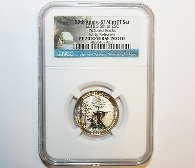2018 S Silver Pictured Rocks Reverse Proof Quarter Anni Early Releases-NGC PF 70