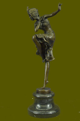 Handmade Bronze Sculpture of Exotic French Dancer Marble Base Figurine Figure