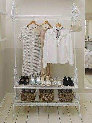 Metal Clothes Rail Ornate Shabby Chic Antique White Shoe Organiser Hanging Cloth