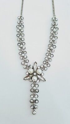 Silver Pearl Crystal Diamante Delicate Special Occasion Wedding Bridal Necklace