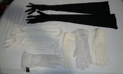 Lot of 6 Pr. Vintage Ladies Gloves assorted era and style and Material